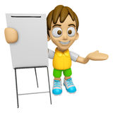 3D Child Mascot is presentation in front of the a briefing chart Royalty Free Stock Images
