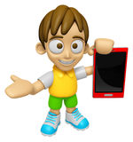 3D Child Mascot the right hand guides and the left hand is holdi Stock Photos
