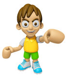 3D Child Mascot is the strike with one's fist. Work and Job Char Royalty Free Stock Photos