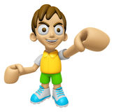 3D Child Mascot is the strike with one's fist. Work and Job Char Stock Photography
