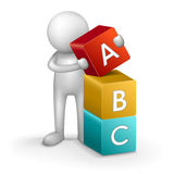 3d child and word ABC. On white background Stock Photos