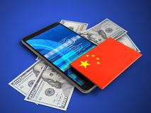 3d china flag. 3d illustration of mobile phone over blue background with banknotes and china flag Stock Image
