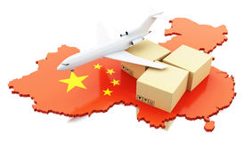 3d China map with cardboard boxes and airplane Stock Photos