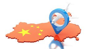 3d China map with map pointer and airplane. 3d renderer image. China map with map pointer and airplane. Travel concept.  white background Royalty Free Stock Photo