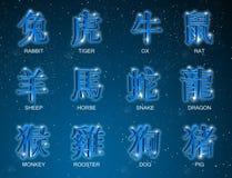 3D Chinese Dierenriem Dierlijke Tekens stock illustratie