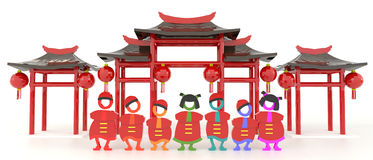 3D Chinese people and Chinese pavilion in white background Stock Image