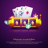 3D chip, ace cards, and roulette on purple background. Flyer, p. Oster or banner design with Ethereum accepted option Stock Images