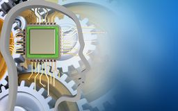 3d chip. 3d illustration of chip over blue background with gears stock illustration
