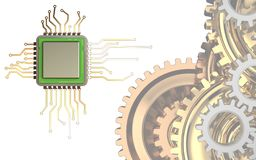 3d chip. 3d illustration of chip over white background with gears system vector illustration