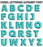 3D chisel lettering font alphabet blue. Isolated on white background retro vintage style turquoise vector illustration