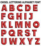 3D chisel lettering font alphabet. Red isolated on white background retro vintage style vector illustration
