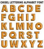 3D chisel lettering font alphabet yellow gold. 3D chisel lettering font alphabet yellow isolated on white background retro vintage style gold amber vector illustration