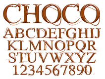 3d chocolate alphabet with number on white background Stock Photo
