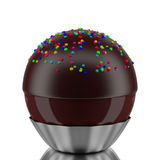 3d Chocolate ball. 3d Chocolate balls close-up in white Stock Photos