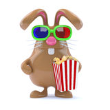 3d Chocolate Easter Bunny with popcorn Royalty Free Stock Images