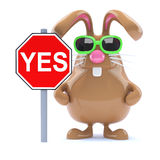 3d Chocolate Easter bunny rabbit with Yes road sign Stock Photos