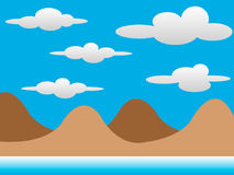 2D Chocolate Hills with Clouds. 2D Mountains with Clouds Background Royalty Free Stock Image