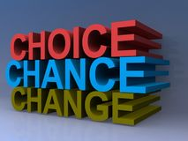 Choice Chance Change Sign. 3D choice, chance, change sign Stock Images