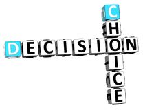 3D Choice Decision Crossword Stock Images