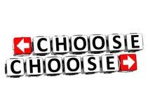 3D choisissent choisissent le texte de bloc de cliquez ici de bouton Image libre de droits