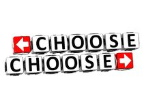 3D Choose Choose Button Click Here Block Text. Over white background royalty free stock image