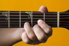 D chord on guitar Stock Image