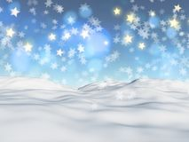 3D Christmas background with snowflakes and stars. 3D render of a Christmas background with snowflakes and stars vector illustration