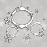 3d Christmas Backgrounds on gray. Snow  Stars New Year and Christmas Backgrounds Royalty Free Stock Photo