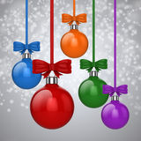 3d Christmas ball ornaments with red ribbon and bows. Background Royalty Free Stock Image