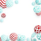 3d Christmas Balls. Christmas Balls Background. Festive Xmas New Year Design with Place for Text. 3d Vector Imitation Royalty Free Stock Photos