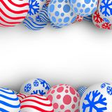 3d Christmas Balls. Christmas Balls Background. Festive Xmas New Year Design with Place for Text. 3d Vector Imitation Stock Photo