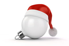 3d Christmas balls ornaments and Santa hat. On white background Royalty Free Stock Photography