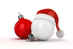 3d Christmas balls ornaments and Santa hat. On white background Royalty Free Stock Image