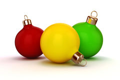 3d Christmas balls ornaments. On white background Stock Photo