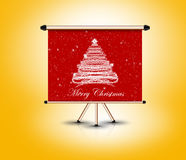 3d christmas banner, holiday concept. Christmas tree billboard frame standing, 3d render Stock Images