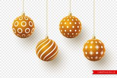 3d Christmas brown balls with geometric pattern. Decorative elements for holiday new year design. Isolated on. Transparent background. Vector illustration royalty free illustration