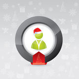 3d christmas button for social network sites Royalty Free Stock Photo
