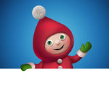 3d Christmas elf toy character with banner Stock Image