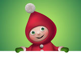 3d Christmas elf toy character with banner Royalty Free Stock Photography