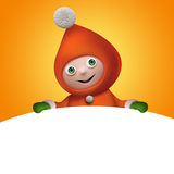 3d Christmas elf toy character with banner. 3d Christmas elf character holding blank page banner, empty space for text Royalty Free Stock Photo