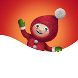 3d Christmas elf toy character with banner. 3d Christmas elf character holding blank page banner, empty space for text Royalty Free Stock Photography