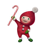 3d Christmas elf toy character with candy cane. 3d Christmas elf character holding candy caner, isolated on white background Stock Images