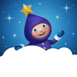 3d Christmas elf toy character with cloud banner. 3d Christmas elf character holding blank cloud banner at night, empty space for text Royalty Free Stock Photos