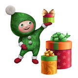 3d Christmas elf toy character with gift box. 3d Christmas elf character holding gift box, isolated on white background Stock Image