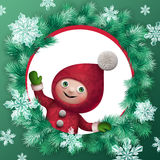 3d Christmas elf toy character greeting card Royalty Free Stock Image