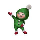 3d Christmas elf toy character isolated on white Stock Photo