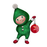 3d Christmas elf toy character isolated on white Royalty Free Stock Photo
