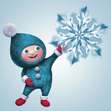 3d Christmas elf toy character with snowflake. 3d Christmas elf character holding crystal snowflake, isolated on winter background Stock Image