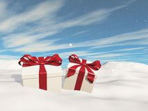3D Christmas landscape with gifts nestled in snow. 3D render of a Christmas landscape with gifts nestled in snow royalty free illustration