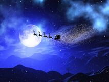 3D Christmas moonlit landscape with santa and reindeers in the s. 3D render of a Christmas moonlit landscape with santa and reindeers in the sky stock illustration